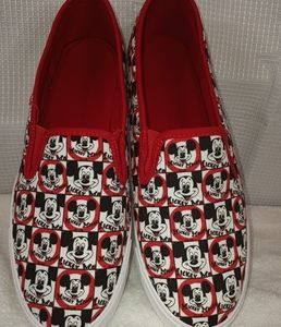 Disney Mickey Mouse White and Black Canvas Slip On